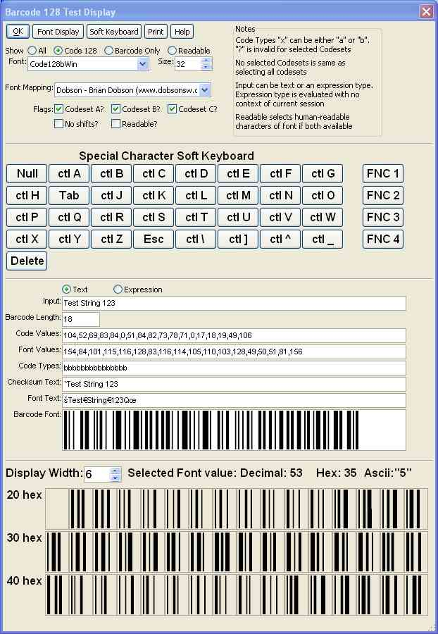 Bar Code Tester : Csda barcoding functions for alpha five